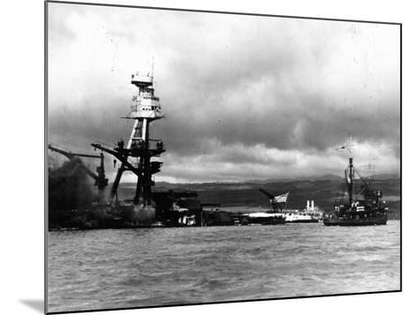 Smoking Wreckage of USS Battleship Arizona During Japanese Surprise Attack on the Pearl Harbor--Mounted Photographic Print
