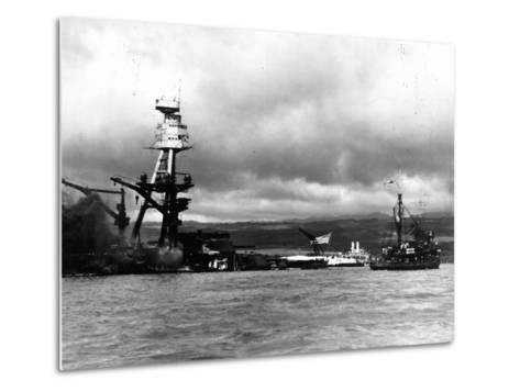 Smoking Wreckage of USS Battleship Arizona During Japanese Surprise Attack on the Pearl Harbor--Metal Print
