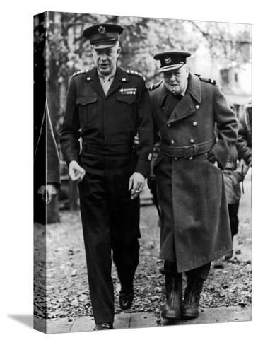 Winston Churchill Walking with General Dwight Eisenhower During Visit to France--Stretched Canvas Print