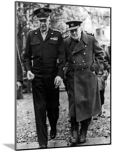 Winston Churchill Walking with General Dwight Eisenhower During Visit to France--Mounted Premium Photographic Print