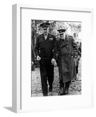 Winston Churchill Walking with General Dwight Eisenhower During Visit to France--Framed Art Print