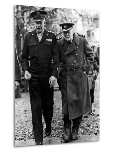 Winston Churchill Walking with General Dwight Eisenhower During Visit to France--Metal Print