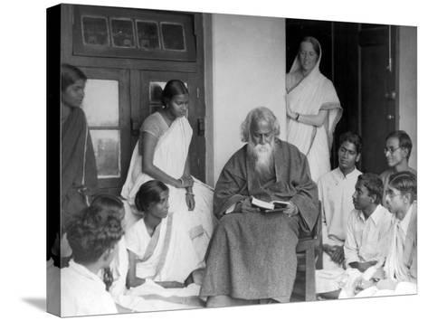 Nobel Prize Winning Indian Poet Rabindranath Tagore Reading to Others--Stretched Canvas Print