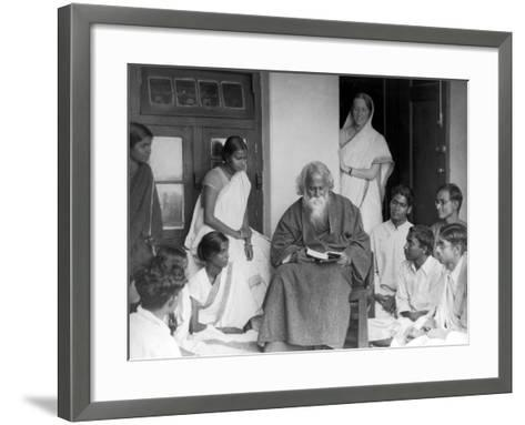 Nobel Prize Winning Indian Poet Rabindranath Tagore Reading to Others--Framed Art Print