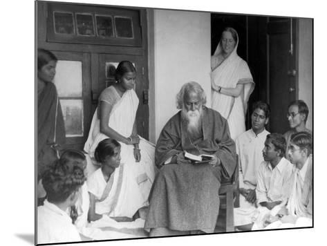 Nobel Prize Winning Indian Poet Rabindranath Tagore Reading to Others--Mounted Premium Photographic Print