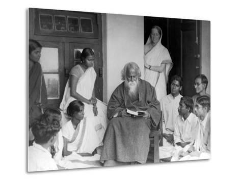 Nobel Prize Winning Indian Poet Rabindranath Tagore Reading to Others--Metal Print