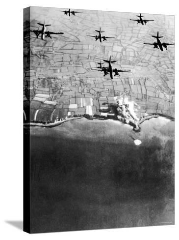 Douglas A-20 Havocs of US 9th Army Air Force Bombing German Coastal Defenses--Stretched Canvas Print
