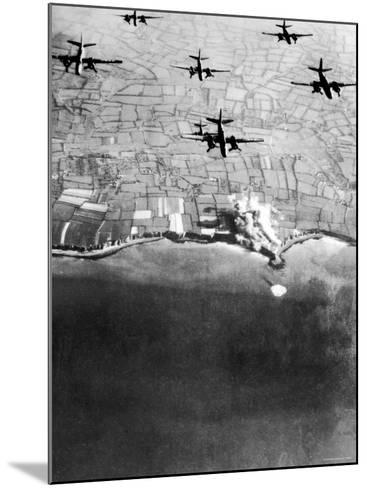 Douglas A-20 Havocs of US 9th Army Air Force Bombing German Coastal Defenses--Mounted Photographic Print