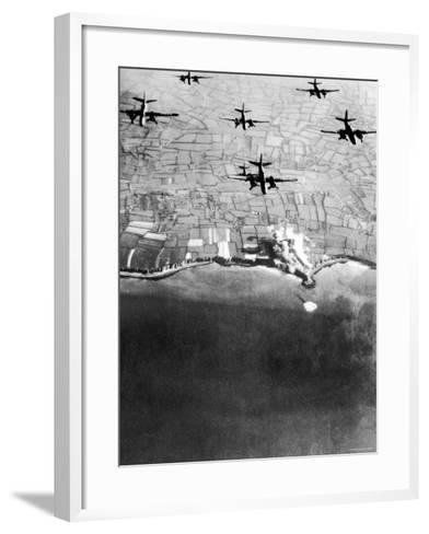 Douglas A-20 Havocs of US 9th Army Air Force Bombing German Coastal Defenses--Framed Art Print