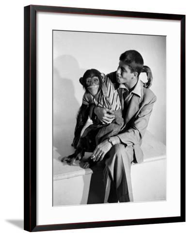 Entertainer Jerry Lewis with a Chimpanzee-Peter Stackpole-Framed Art Print