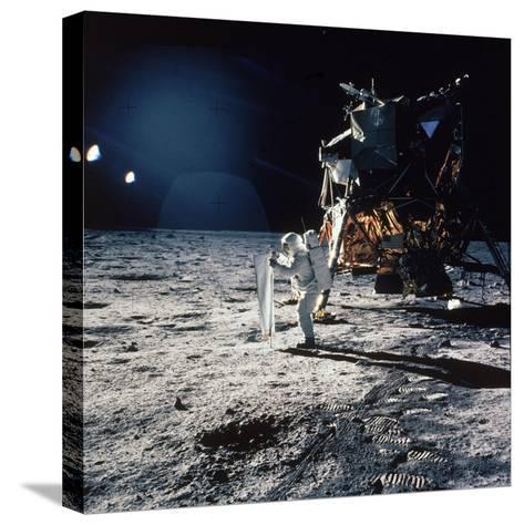 "Apollo 11 Astronaut Buzz Aldrin Unfurling ""Solar Wind Sheet""--Stretched Canvas Print"