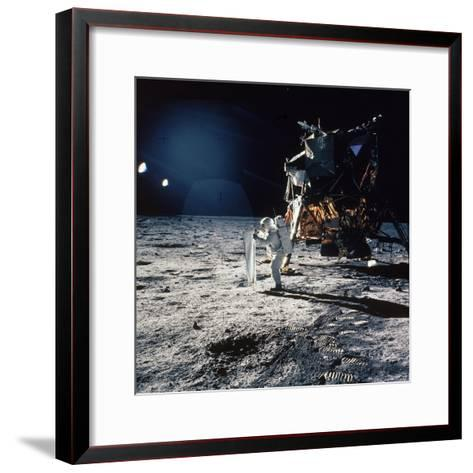 "Apollo 11 Astronaut Buzz Aldrin Unfurling ""Solar Wind Sheet""--Framed Art Print"