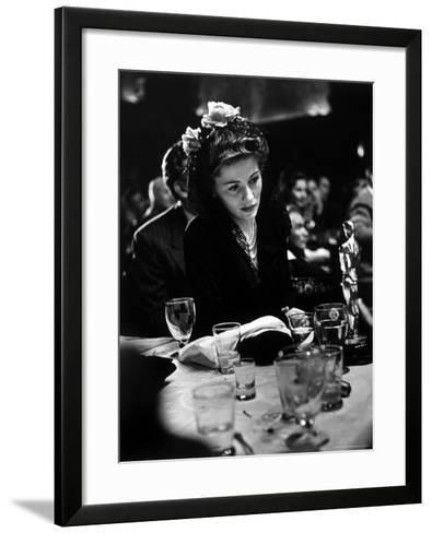 """Joan Fontaine Looking at the Best Actress Oscar She Won for Her Role in the Film """"Suspicion.""""-Peter Stackpole-Framed Art Print"""