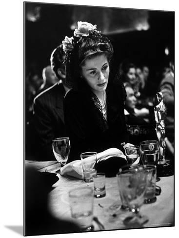 """Joan Fontaine Looking at the Best Actress Oscar She Won for Her Role in the Film """"Suspicion.""""-Peter Stackpole-Mounted Premium Photographic Print"""