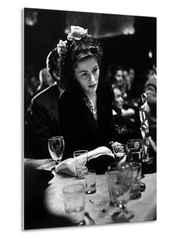 """Joan Fontaine Looking at the Best Actress Oscar She Won for Her Role in the Film """"Suspicion.""""-Peter Stackpole-Metal Print"""