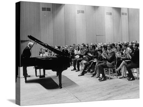 Pianist Artur Rubinstein Taking Bow Next to Grand Piano as Audience Enthusiastically Responds--Stretched Canvas Print