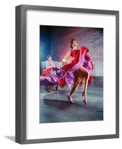 Chita Rivera and Liane Plane Dancing in a Scene from the Broadway Production of West Side Story-Hank Walker-Framed Art Print