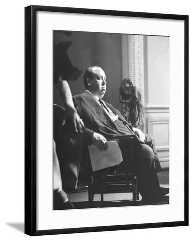 """Director Alfred Hitchcock Directing Scene in Movie """"Rebecca"""" at Selznick International Studios-Peter Stackpole-Framed Art Print"""