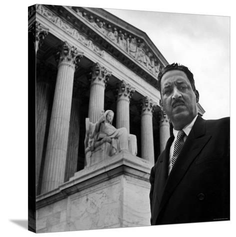 NAACP Chief Counsel Thurgood Marshall Standing on Steps of the Supreme Court Building-Hank Walker-Stretched Canvas Print