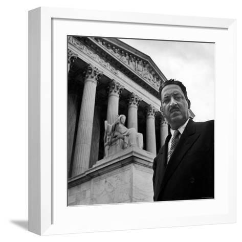 NAACP Chief Counsel Thurgood Marshall Standing on Steps of the Supreme Court Building-Hank Walker-Framed Art Print