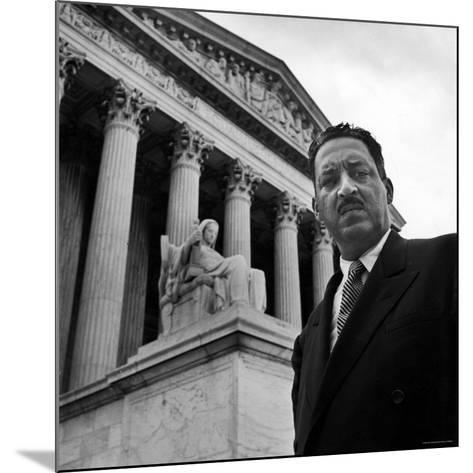 NAACP Chief Counsel Thurgood Marshall Standing on Steps of the Supreme Court Building-Hank Walker-Mounted Premium Photographic Print