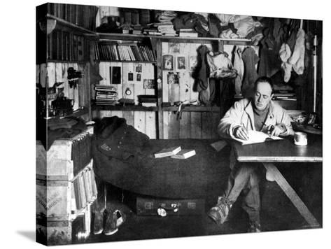 British Explorer Robert Falcon Scott Writing in His Diary Inside Hut at Cape Evans--Stretched Canvas Print