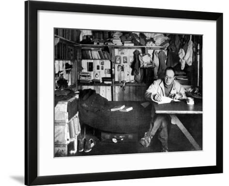 British Explorer Robert Falcon Scott Writing in His Diary Inside Hut at Cape Evans--Framed Art Print