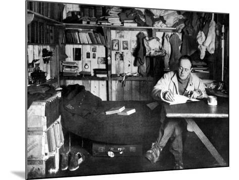 British Explorer Robert Falcon Scott Writing in His Diary Inside Hut at Cape Evans--Mounted Premium Photographic Print