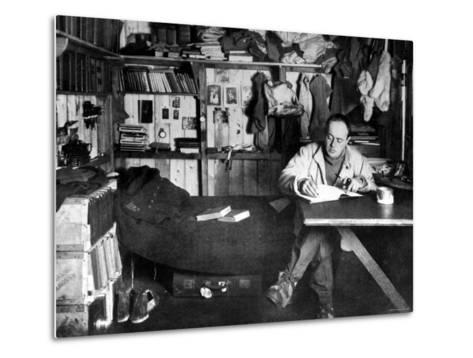 British Explorer Robert Falcon Scott Writing in His Diary Inside Hut at Cape Evans--Metal Print