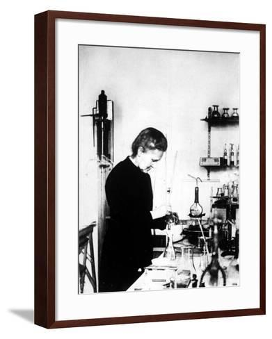 Chemist Marie Curie at Work in Her Laboratory--Framed Art Print