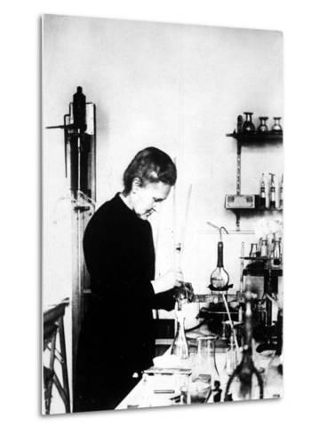Chemist Marie Curie at Work in Her Laboratory--Metal Print