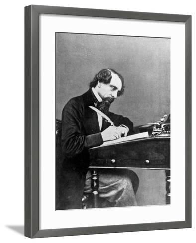 Prolific English Novelist Charles Dickens Seated Writing with a Quill Pen--Framed Art Print