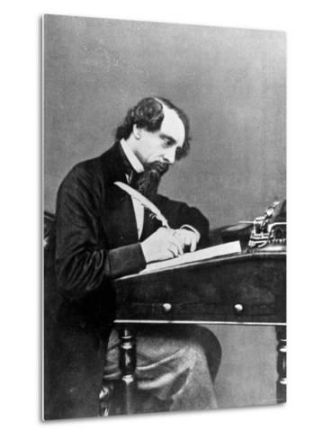 Prolific English Novelist Charles Dickens Seated Writing with a Quill Pen--Metal Print