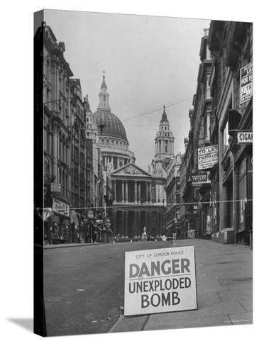 Danger Unexploded Bomb Sign at Cordoned Off Area in Front of St. Paul's Church-Hans Wild-Stretched Canvas Print