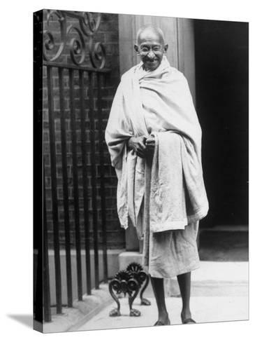 Hindu Nationalist Leader Mohandas Gandhi Standing Outside 10 Downing Street--Stretched Canvas Print