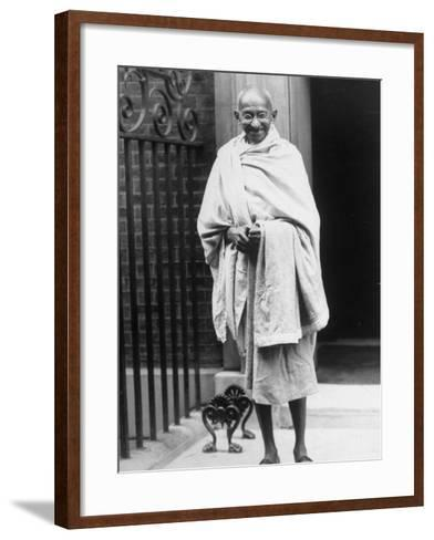 Hindu Nationalist Leader Mohandas Gandhi Standing Outside 10 Downing Street--Framed Art Print