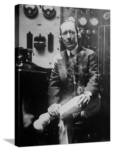 Inventor Guglielmo Marconi Wearing Headphones in Development of Short Wave Wireless Communication--Stretched Canvas Print