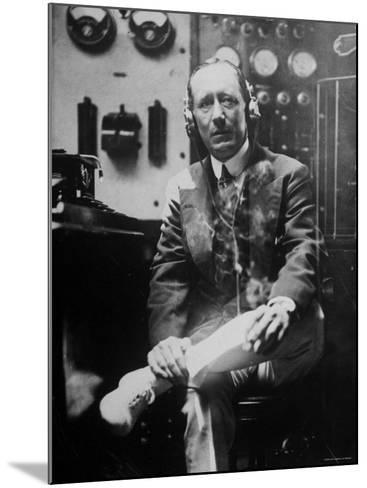 Inventor Guglielmo Marconi Wearing Headphones in Development of Short Wave Wireless Communication--Mounted Premium Photographic Print