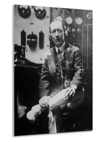 Inventor Guglielmo Marconi Wearing Headphones in Development of Short Wave Wireless Communication--Metal Print