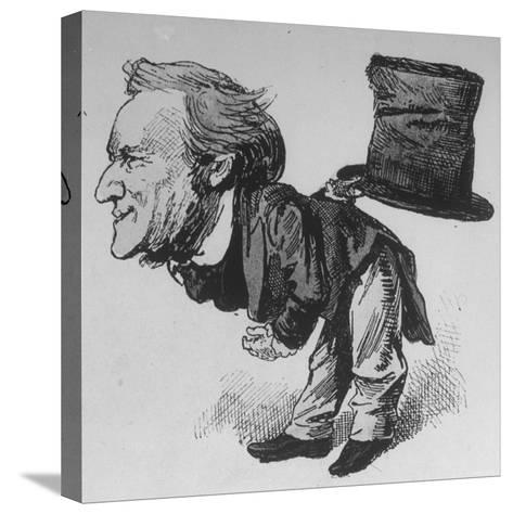 Caricature of German Composer and Poet Richard Wagner Taking Curtain Call in Leipzig--Stretched Canvas Print