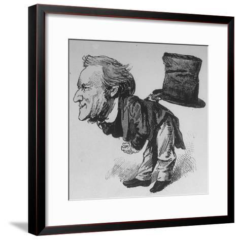 Caricature of German Composer and Poet Richard Wagner Taking Curtain Call in Leipzig--Framed Art Print