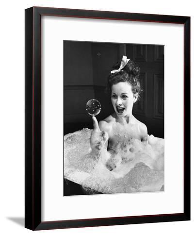 "Movie Actress Jeanne Crain Balancing in Scene From the Movie ""Margie.""-Peter Stackpole-Framed Art Print"