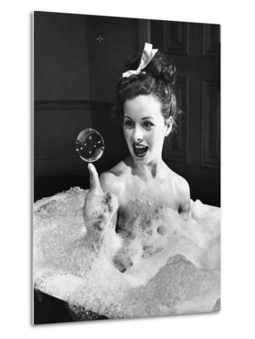 "Movie Actress Jeanne Crain Balancing in Scene From the Movie ""Margie.""-Peter Stackpole-Metal Print"