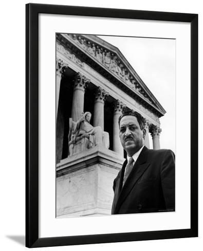 NAACP Chief Counsel Thurgood Marshall in Serious Portrait Outside Supreme Court Building-Hank Walker-Framed Art Print