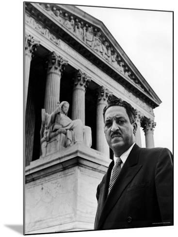 NAACP Chief Counsel Thurgood Marshall in Serious Portrait Outside Supreme Court Building-Hank Walker-Mounted Premium Photographic Print