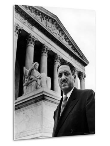 NAACP Chief Counsel Thurgood Marshall in Serious Portrait Outside Supreme Court Building-Hank Walker-Metal Print