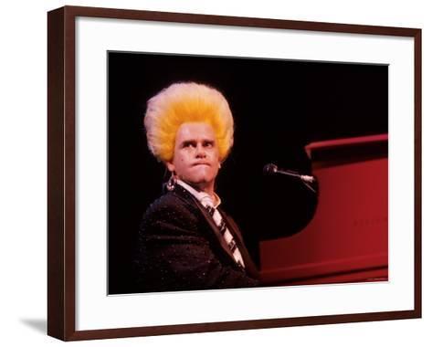 Elton John Performing, Wearing Wig--Framed Art Print