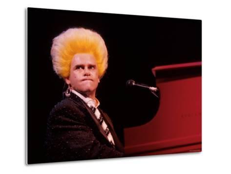 Elton John Performing, Wearing Wig--Metal Print
