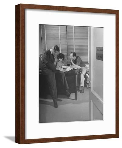 Screenwriting Team of Charles Brackett and Billy Wilder Dictating to Secretary in Paramount Office-Peter Stackpole-Framed Art Print