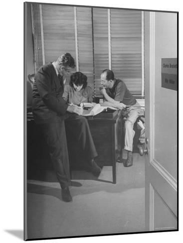 Screenwriting Team of Charles Brackett and Billy Wilder Dictating to Secretary in Paramount Office-Peter Stackpole-Mounted Premium Photographic Print